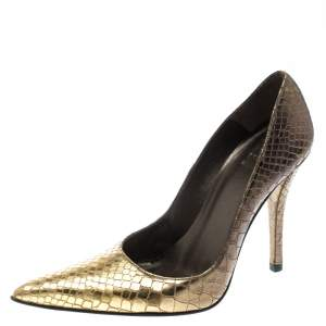 Stuart Weitzman Two Tone Python Embossed Leather Pointed Toe Pumps Size 35