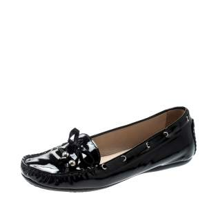 Stuart Weitzman Black Patent Leather Bow Detail Loafers Size 38
