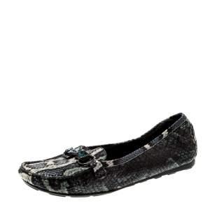 Stuart Weitzman Multicolor Python Embossed Leather Crystal Embellished Loafers Size 39.5