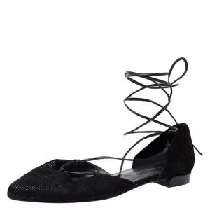 Stuart Weitzman Black Suede Gilligan Ankle Wrap Ballet Flats Size 39