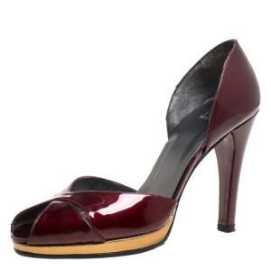 Stuart Weitzman Burgundy Patent Leather Peep Toe Platform Pumps Size 38.5