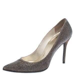 Stuart Weitzman Metallic Gold Glitter Fabric Pointed Toe Pumps Size 40