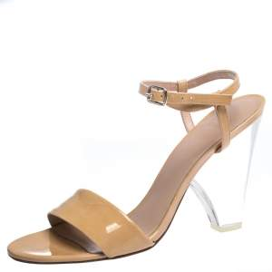 Stuart Weitzman Beige Patent Leather Nearlynude Lucite Ankle Strap Sandals Size 40