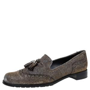 Stuart Weitzman For Russell & Bromley Black/Gold Lamé Fabric Tassel Detail Slip On Loafers Size 38