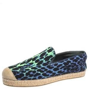 Stuart Weitzman Tricolor Printed Canvas Espadrille Loafers Size 38