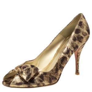 Stuart Weitzman Metallic Lamé Fabric Leopard Print Bow Peep Toe Pumps Size 39.5