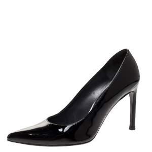 """حذاء كعب عالي ستيورات وايتزمان """"هيست"""" مقدمة مدببة جلد لامع أسود مقاس 40"""