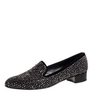 Stuart Weitzman Black Embellished Suede Leather Slip On Smoking Slippers Size 40