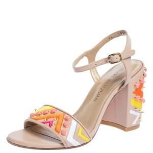 Stuart Weitzman Beige Embroidered Leather Embellished Block Heel Ankle Strap Sandals Size 36