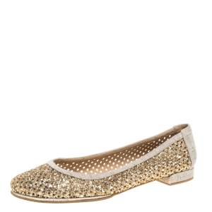 Stuart Weitzman Metallic Gold Glitter Perforated Leather and Canvas Ballet Flats Size 40
