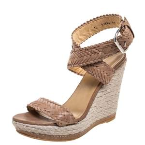 Stuart Weitzman Beige Leather And Espadrille Ankle Wrap Wedges Size 39