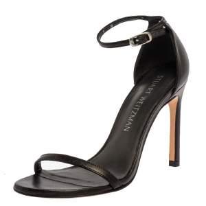 Stuart Weitzman Black Leather Nudist Ankle Strap Sandals Size 35.5