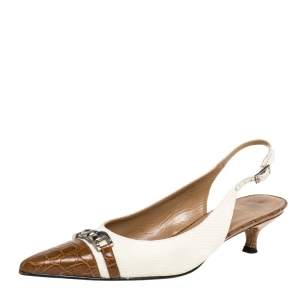 Stuart Weitzman White/Brown Canvas And Croc Embossed Leather Chain Detail Slingback Sandals Size 38