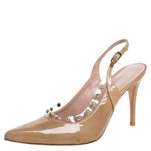 Stuart Weitzman Beige Patent Leather Moonglow Slingback Pumps Size 40