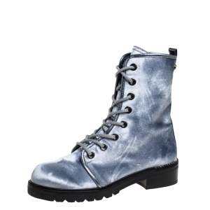 Stuart Weitzman Metallic Blue Velvet Crystal Embellished Heel Combat Boots Size 37