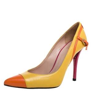 Stuart Weitzman Yellow/Orange Leather Buckle Pointed Toe Pumps Size 37