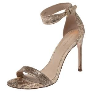 Stuart Weitzman Beige Shimmery Fabric Back Up Tiz Sandals Size 38.5
