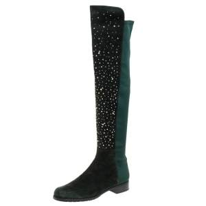 Stuart Weitzman Green Suede And Fabric Crystal/Stud Embellished High Boots Size 41