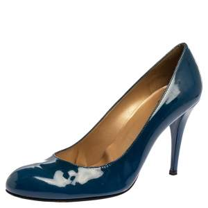 Stuart Weitzman Blue Patent Leather Round Toe Pumps Size 40.5