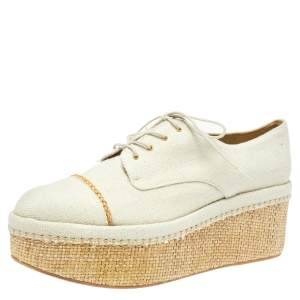 Stuart Weitzman Cream Canvas Lace Up Flat Platform Oxfords Size 40