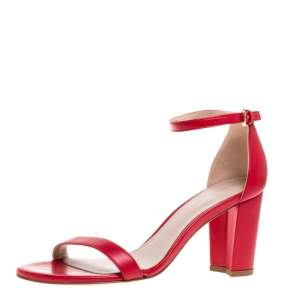 Stuart Weitzman Red Leather LessNudist Block Heel Ankle Strap Sandals Size 38