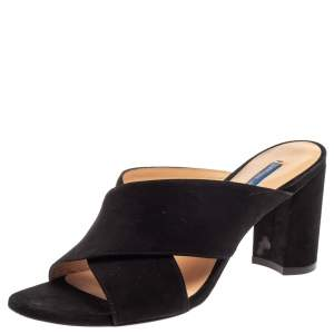 Stuart Weitzman Black Suede Galene Slip On Mules Size 38.5