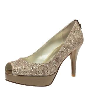 Stuart Weitzman Metallic Beige Lace And Glitter Peep Toe Platform Pumps Size 36.5