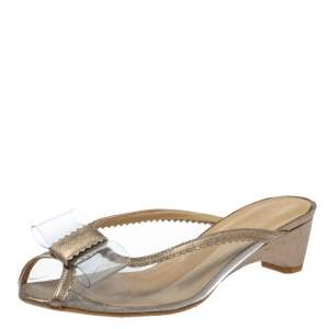 Stuart Weitzman Gold and Clear PVC Mules Size 36.5