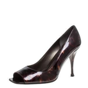 Stuart Weitzman Brown Patent Leather Peep Toe Pumps Size 39