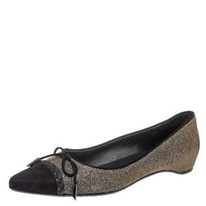 Stuart Weitzman Black Glitter Fabric And Suede Bow Pointed Cap Toe Ballet Flats Size 38.5