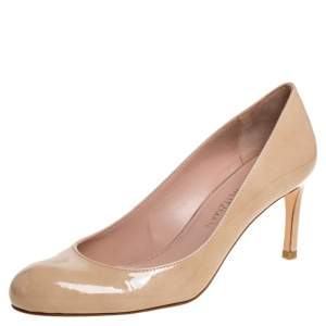 Stuart Weitzman Beige Patent Leather Moody Round Toe Pumps Size 38