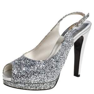Stuart Weitzman Silver Coarse Glitter Peep Toe Slingback Sandals Size 39