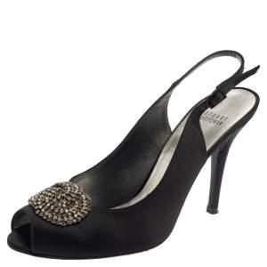 Stuart Weitzman Black Satin Crystal Embellished Slingback Sandals Size 41