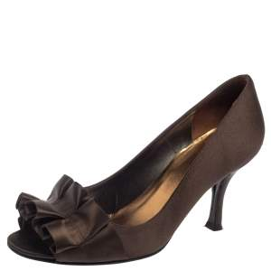Stuart Weitzman Dark Brown Satin Gigiritz Peep Toe Pumps Size 36.5