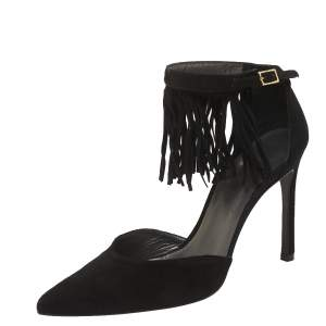 Stuart Weitzman Black Suede  Fringelica Ankle Strap Pumps Size 38