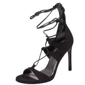 Stuart Weitzman Black Textured Suede Goose Bump LegWrap Sandals Size 38