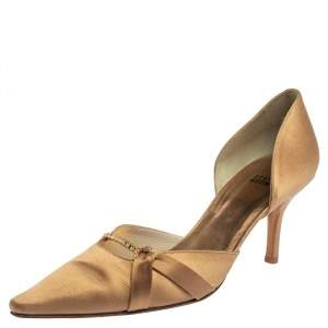 Stuart Weitzman Beige Satin  Pointed Toe Pumps Size 40