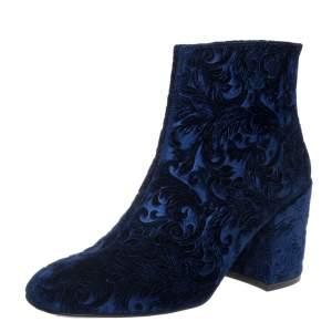 Stuart Weitzman Blue Velvet Bacari Block Heel Ankle Boots Size 38.5
