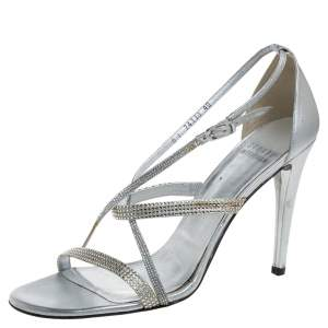 Stuart Weitzman Silver Leather Crystal Embellished Strappy Sandals Size 40