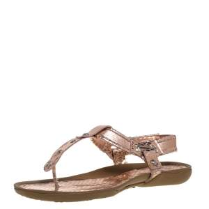 Stuart Weitzman Metallic Rose Gold Snake Embossed Leather Thong Flats Size 37.5