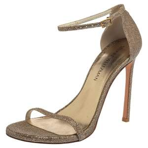 Stuart Weitzman Gold Glitter Fabric Nudist Sandals Size 39