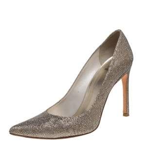 Stuart Weitzman Metallic Gold Glitter Pointed Toe Pumps Size 40