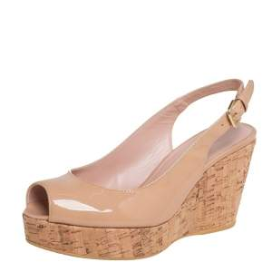 Stuart Weitzman Beige Patent Leather Jean Peep Toe Cork Wedge Slingback Sandals Size 37