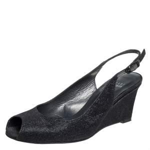 Stuart Weitzman Black Lurex Fabric And Glitter Fabric Wedge Slingback Sandals Size 37