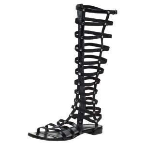 Stuart Weitzman Black Leather And Elastic Gladiator Flats Size 37
