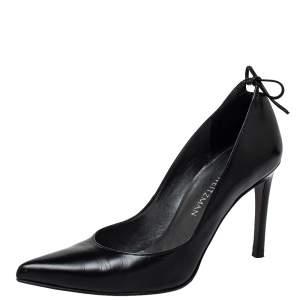 Stuart Weitzman Black Leather Peeka Bow Pumps Size 36.5