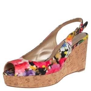 Stuart Weitzman Multicolor Brocade Fabric Cork Wedge Sandals Size 43.5