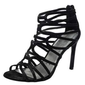 Stuart Weitzman Black Leather Loopdeloop Sandals Size 36.5