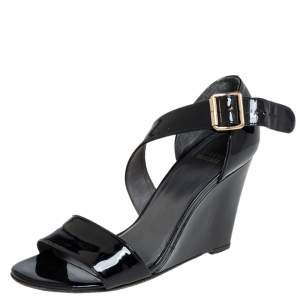 Stuart Weitzman Black Patent Leather Wedge Sandals Size 38.5