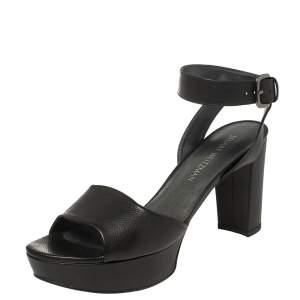 Stuart Weitzman Black Leather Real Deal Ankle Strap Platform Sandals Size 40